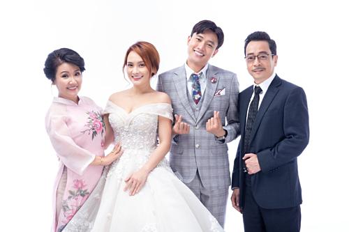 Từ trái sang: diễn viên Ngân Quỳnh, Bảo Thanh (vai Thư), Quốc Trường (vai Vũ), Hoàng Dũng (vai ông Luật).