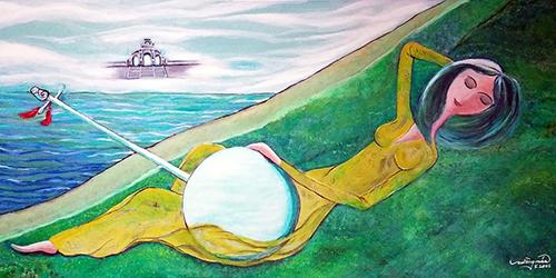 Nguyệt cầm trắng -Tranh: Mường Mán