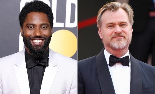 John David Washington (trái) và Christopher Nolan. John là con trai tài tử Denzel Washington. Năm ngoái, anh gây chú ý khi đóng chính BlacKkKlansman. Ảnh: Entertainment Weekly.