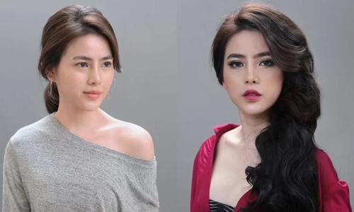 Thủy Tiên làm đẹp theo cách của phụ nữHàn Quốc (trái) và Trung Quốc (phải). Ảnh: Nhân vật cung cấp.