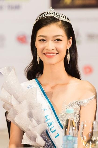 Nguyễn Hà Kiều Loan tại họp báo sau chung kết Miss World Vietnam. Ảnh: BTC.