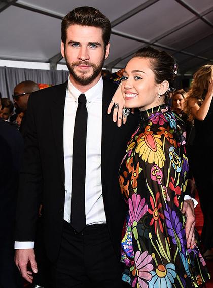 Miley Cyrus và Liam Hemsworth dự lễ ra mắt phim Thor: Ragnarok do anh trai Liam - Chris Hemsworth - đóng chính, tháng 10/2017.