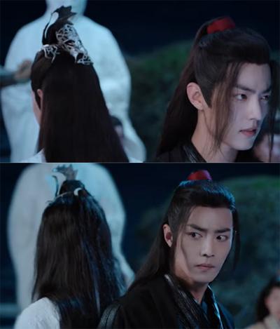 Phục sức trên đầu Lam Vọng Cơ (trái, Vương Nhất Bác đóng) biến mất ở một cảnh quay, tóc nhân vật cũng xoăn hơn.