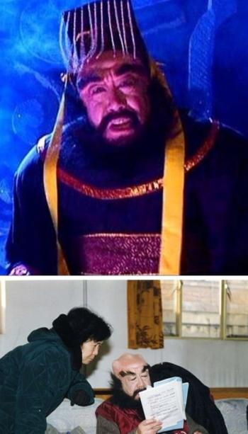 Ảnh trên: Lưu Giang trong Tây du ký. Ảnh dưới: Lưu Giang và đạo diễn Dương Khiết (1929-2017). Ảnh: Weibo.