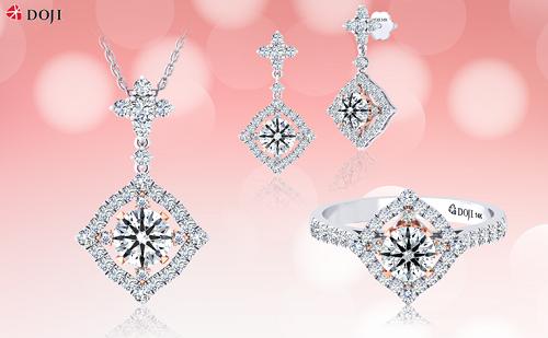Bộ kim cương mô phỏng ngôi sao dẫn đường gồm nhẫn, khuyên tai và dây đeo cổ.