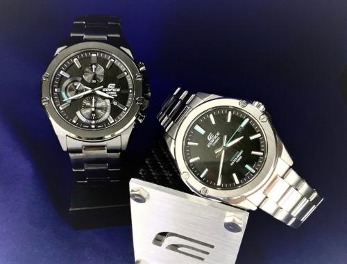 Cận cảnh mặt số của 2 mẫu đồng hồ Edifice siêu mỏng mới ra mắt.