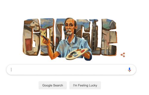 Bức vẽ họa sĩ Bùi Xuân Phái của Google Doodle.