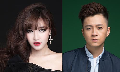 Ca sĩ Bích Phương (trái) và Ngô Kiến Huy.