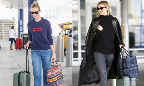 Người mẫu Karlie Kloss sắm nhiều phiên bản của chiếc túi này, trongđó có mẫu họa tiết màu mè vàxanh denim hoa văn cách điệu. Ảnh: Star Style.