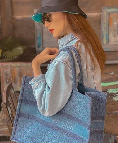 Minh Hằng sắm túi Dior vải canvas thêu họa tiết.