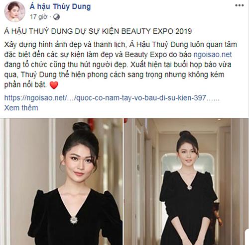 Á hậu Thùy Dung cũng post bài báo hình ảnh cô dự sự kiện trên trang cá nhân. Người đẹp chia sẻ bản thân cũng giống như nhiều bạn gái khác, luôn quan tâm tới vẻ ngoài của mình. Vì vậy, cô thường bị thu hút bởi các sự kiện làm đẹp và triển lãm Beauty Expo cùng cuộc thi Make-up Transformation do báo Ngoisao.net tổ chức không ngoại lệ.