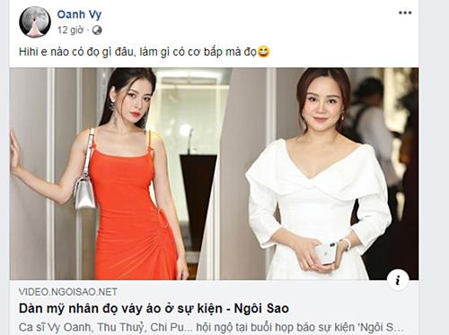 Ca sĩ Vy Oanh post video cô tham dự họp báo Ngoisao Beauty Expo 2019 và cuộc thi Make-up transformation cùng dòng chia sẻ hài hước: Em nào có đọ gì đâu, làm gì có cơ bắp mà đọ. Nhiều bạn bè và fan dành lời khen cho cách trang điểm đơn giản mà tự nhiên của giọng ca Đồng xanh.