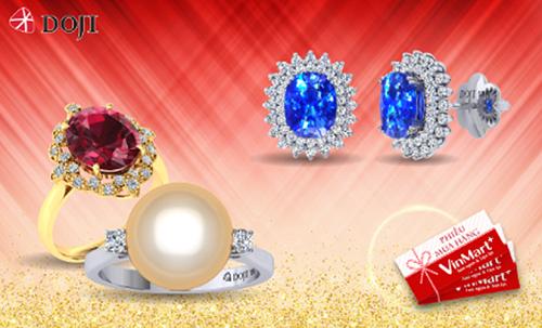 Nếu yêu thích vẻ đẹp lấp lánh và sang trọng của những viên đá quý  màu sắc, khách hàng có thể tham khảo các mẫu thiết kế trang sức Đá màu, trang sức Ngọc trai với ưu đãi Mua 5 triệu tặng một triệu của thương hiệu.