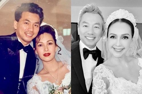 Diễm My chia sẻ hình ảnh hai vợ chồng trong trang phục cưới sau 25 năm.