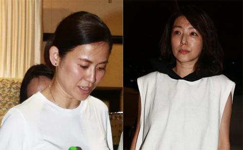 Hai diễn viên Tuyên Huyên (trái) và