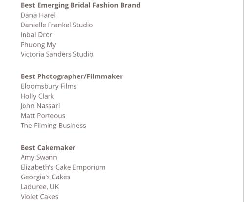 Danh sách các hạng mục đề cử của giải thưởng Bridelux Industry Awards 2019