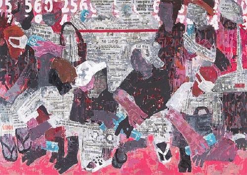 Tác phẩm Cao điểm của họa sĩ Đoàn Xuân Tùng được thể hiện bằng chất liệu acrylic và giấy báo cắt dán trên toan.