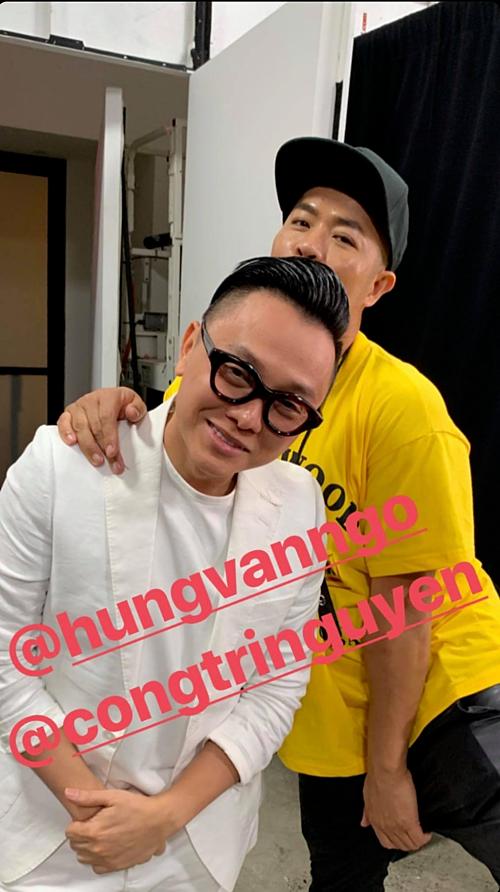 Chuyên gia trang điểm Hung VanNgo vàCông Trí trước show diễn.Ảnh: Instagram stylist Kate Young.