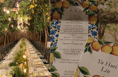 Không gian hôn lễ và thực đơn tiệc cưới Hướng Tá. Ảnh: Sina.