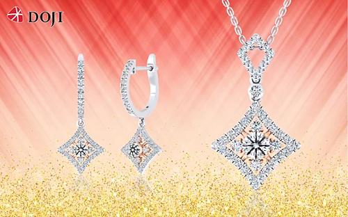 Trang sức kim cương của DOJI được thiết kế từ những viên chất lượng được kiểm định quốc tế, tuyển chọn theo các tiêu chuẩn: trọng lượng, độ tinh khiết, màu sắc hay giác cắt...