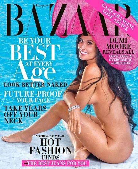 Demi Moore trên bìa tạp chí. Ảnh:Harpers Bazaar.