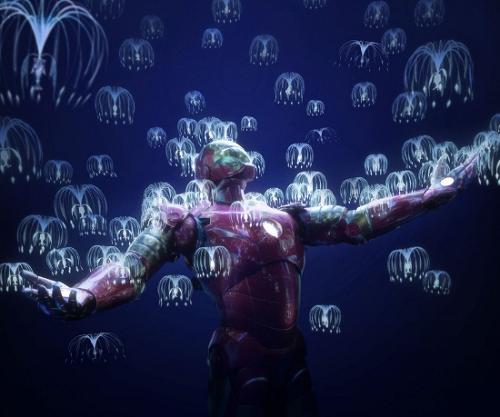 Iron Man quanh các hạt giống woodsprite. Ảnh: Twitter.