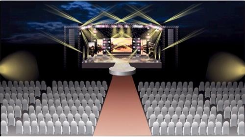 Sân khấu chương trình với dàn âm thanh ánh sáng hiện đại.