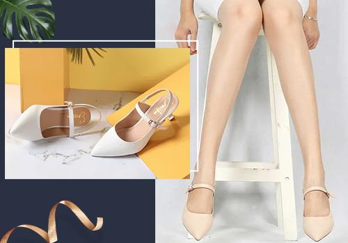 Mang giày cao gót pastel thiết kế truyền thống còn mang đến vẻ nữ tính cho bạn gái khi mặc áo với váy vintage. Tham khảo sản phẩm trong hình tại đây.