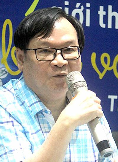 Nguyễn Nhật Ánh tại buổi ra mắt sách mới. Ảnh: Mai Nhật.