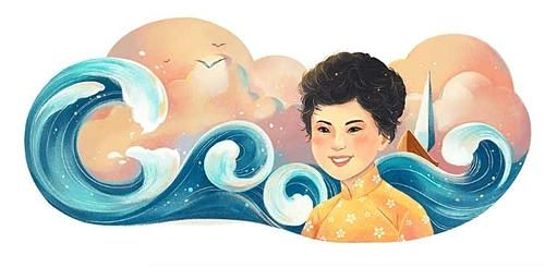 Bức vẽ Xuân Quỳnh trên Google Doodle.