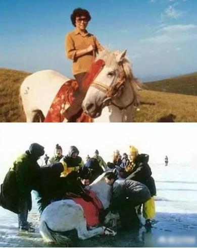 Ảnh trên: Đạo diễn Dương Khiết cưỡi Bạch Long Mã. Ảnh dưới: Đoàn phim đỡ