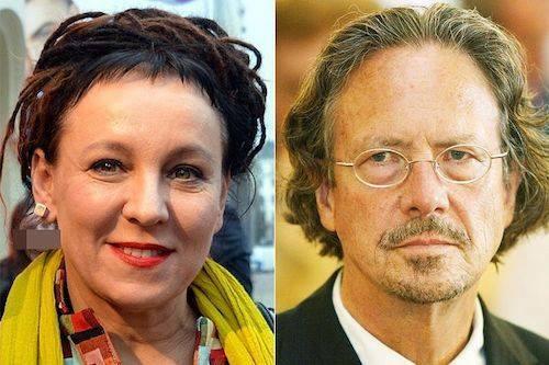 Nhà văn Ba Lan Olga Tokarczuk (trái) và Peter Handke - tiểu thuyết gia người Áo. Ảnh: Straight Times.