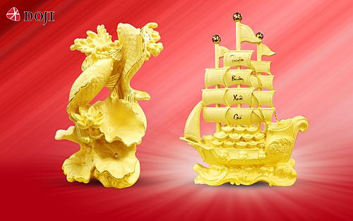 Ngoài ưu đãi tiền công chế tác vàng, DOJI giảm tới 45% cho sản phẩm mỹ nghệ Kim bảo phúc trong thời gian này.