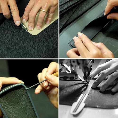 Một số công đoạn trong sản xuất đồ da thật của MINK Leather.
