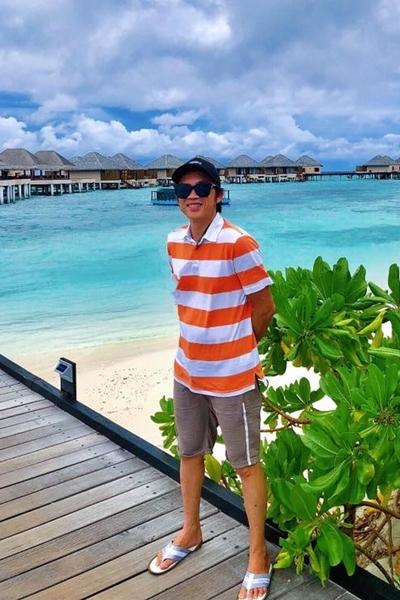 Hoài Linh du lịch ở Maldives. Ảnh: HL.