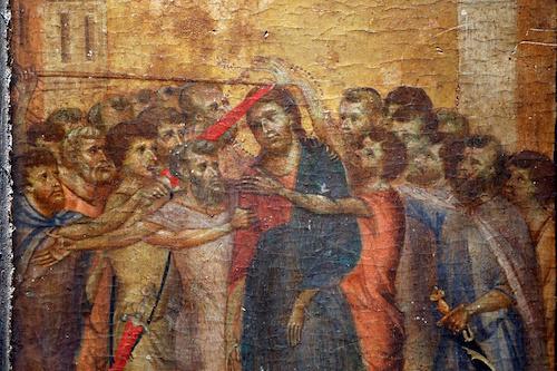Bức tranh Christ Mocked của Cimabue. Ảnh: Reuters.