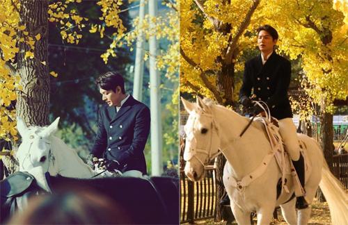 Tạo hình Lee Min Ho trong phim mới. Ảnh: Instagram, Weibo.