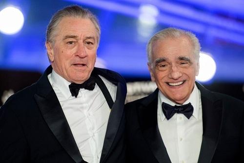 Scorsese (phải) và tài tử Robert De Niro ở một buổi giới thiệu phim The Irishman. Ảnh: AFP.