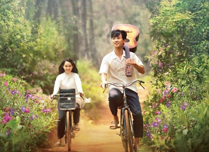 Nguyễn Trúc Anh và Trần Nghĩa trong một cảnh quay.