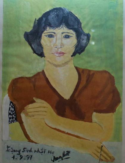 Chân dung nghệ sĩ Ngọc Tuyết do con trai vẽ tặng.