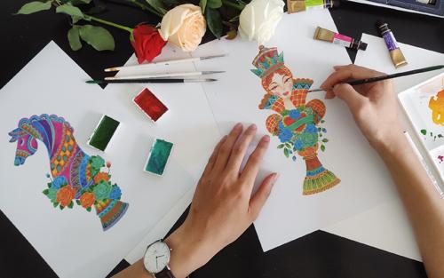 Hình ảnh phác hoạ bản thảo mẫu hoạ tiết chủ đạo ở bộ sưu tập tôn vinh vẻ đẹp nữ quyền. Ảnh: VN&S.