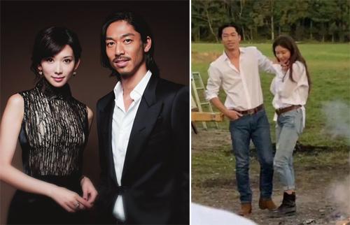 Vợ chồng Lâm Chí Linh chụp ảnh cưới (phải). Ảnh: Appledaily.