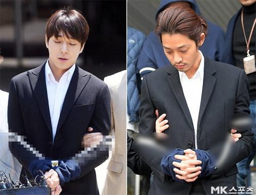 Jung Joon Young (phải) và Choi Jong Hoon khi bị bắt. Ảnh: MK.