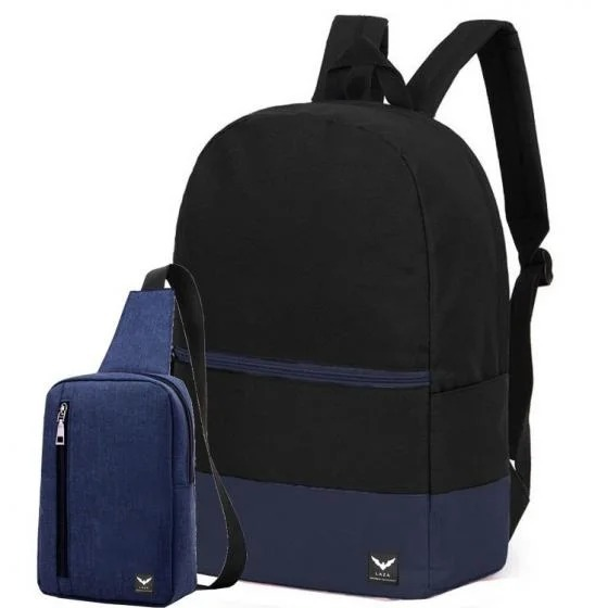 Combo balo Laza và túi đeo chéo màu xanh đen năng động, cá tính đang giảm giá trên Shop VnExpress còn 79.000 đồng. Kích thước balo đựng vừa laptop 15,6inch, làm bằng chất liệu vải oxford. Dây đeo có đệm vai êm ái, tạo sự thoải mái cho người đeo.
