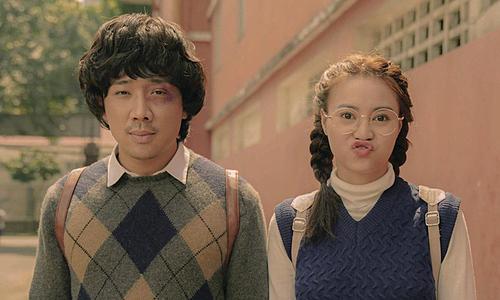 Trấn Thành (trái) và Ninh Dương Lan Ngọc là hai diễn viên chính phim Cua lại vợ bầu. Ảnh: ABC.