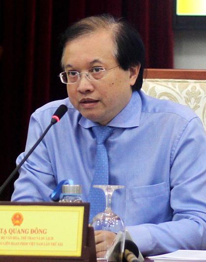 Ông Tạ Quang Đông ở buổi họp báo. Ảnh: VT.