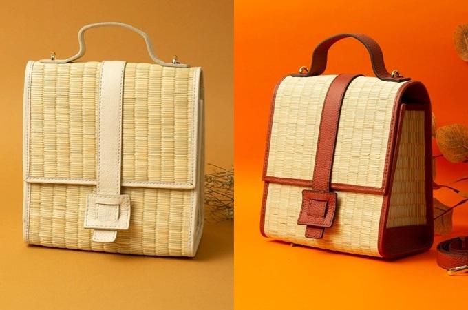 Túi cói thời trang màu cam đất Nord111 và tông trắng có thiết kế nhỏ gọn, nắp đậy tinh tế. Túi dài 20,2 cm, rộng 11 cm và cao20,5 cm. Sản phẩm có giá 2,5 triệu đồng.