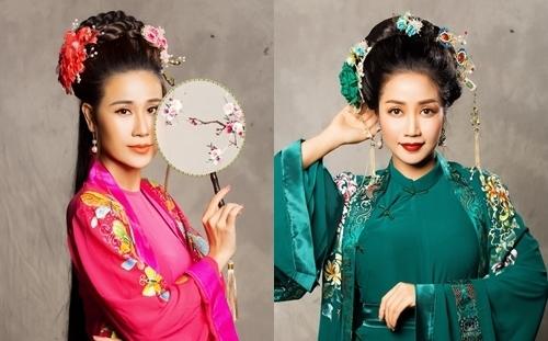 Vai Kiều (trái, My Trần đóng) và Tú Bà (Ốc Thanh Vân) được đầu tư về trang phục. Ảnh: Bảo Lê.