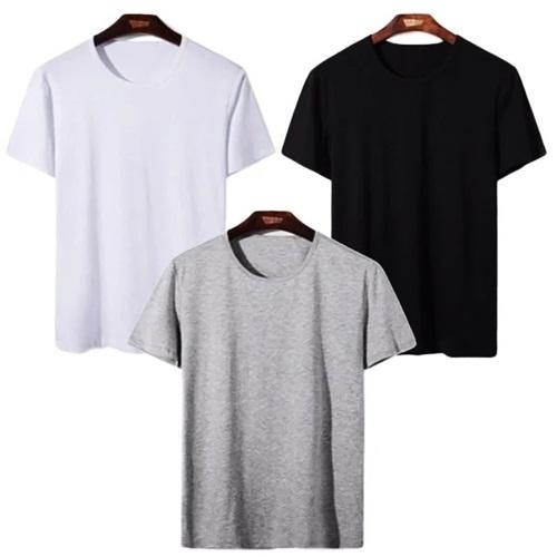 Áo thun nam cổ tròn với 65% cotton thoáng mát, giúp các chàng dễ phối với nhiều trang phục khác nhau. Thiết kế có ba màu: xám, đen, trắng. Khi mua tông màu đen, phái mạnh được tặng một quần lót.