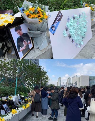 Fan tưởng niệm Cao Dĩ Tường. Ảnh: Weibo.